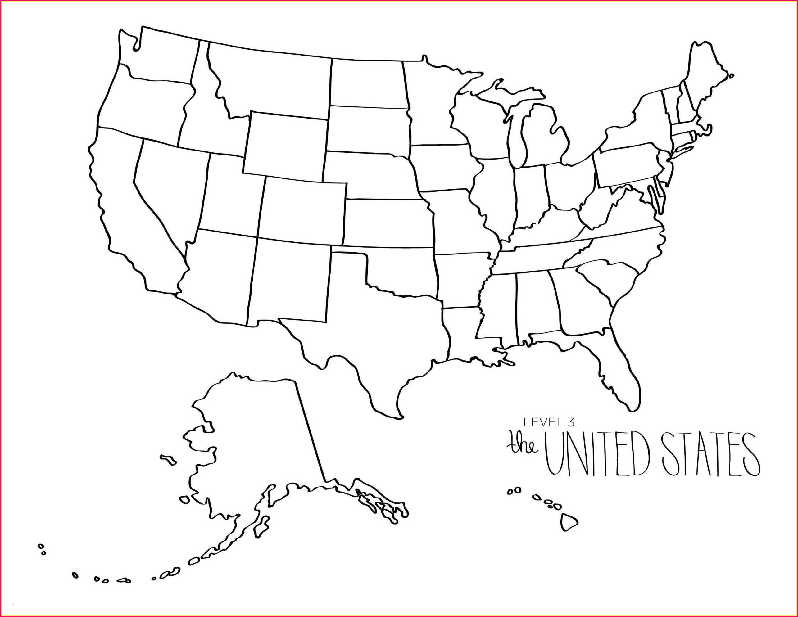 Printable Us Map Coloring Page