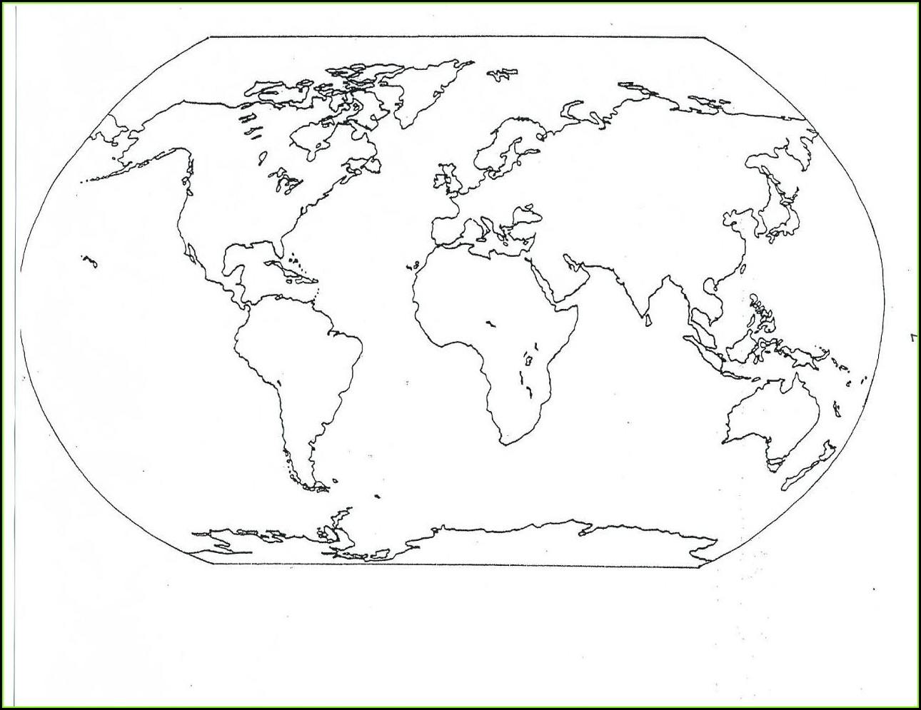 Printable World Map Coloring Sheet