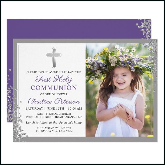 Purple First Communion Invitations