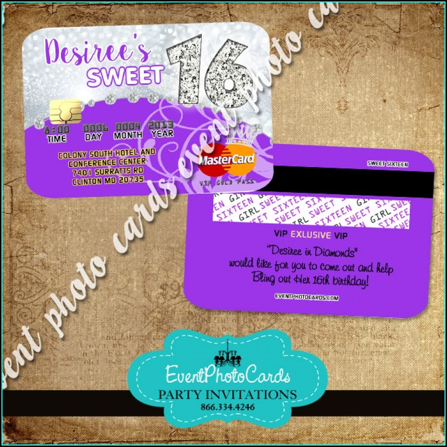 Purple Sweet 16 Invitations