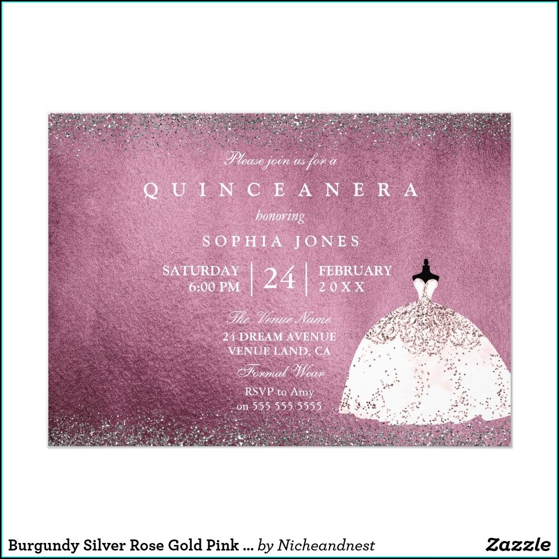 Quinceanera Invitations Burgundy And Gold