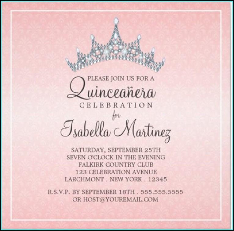 Quinceanera Invitations Wording Samples In English
