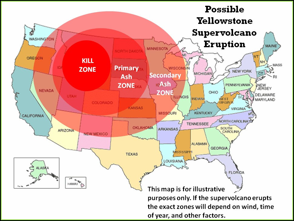 Radius Yellowstone Supervolcano Eruption Map
