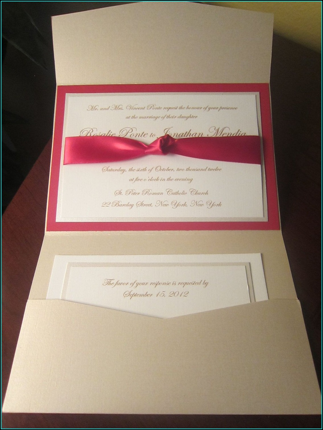 Red And Champagne Wedding Invitations
