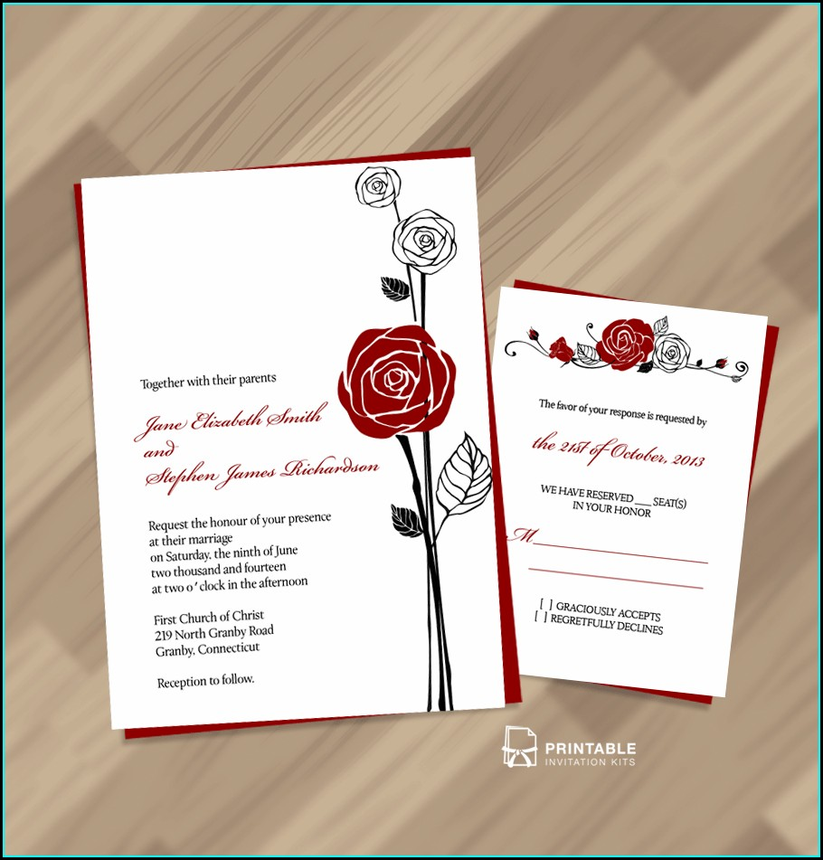 Red Rose Wedding Invitation Templates