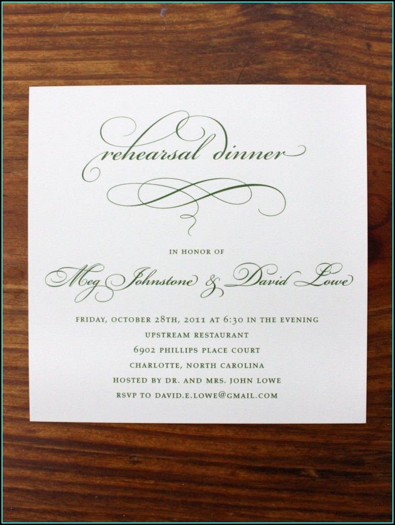 Rehearsal Dinner Invitations With Meal Choices