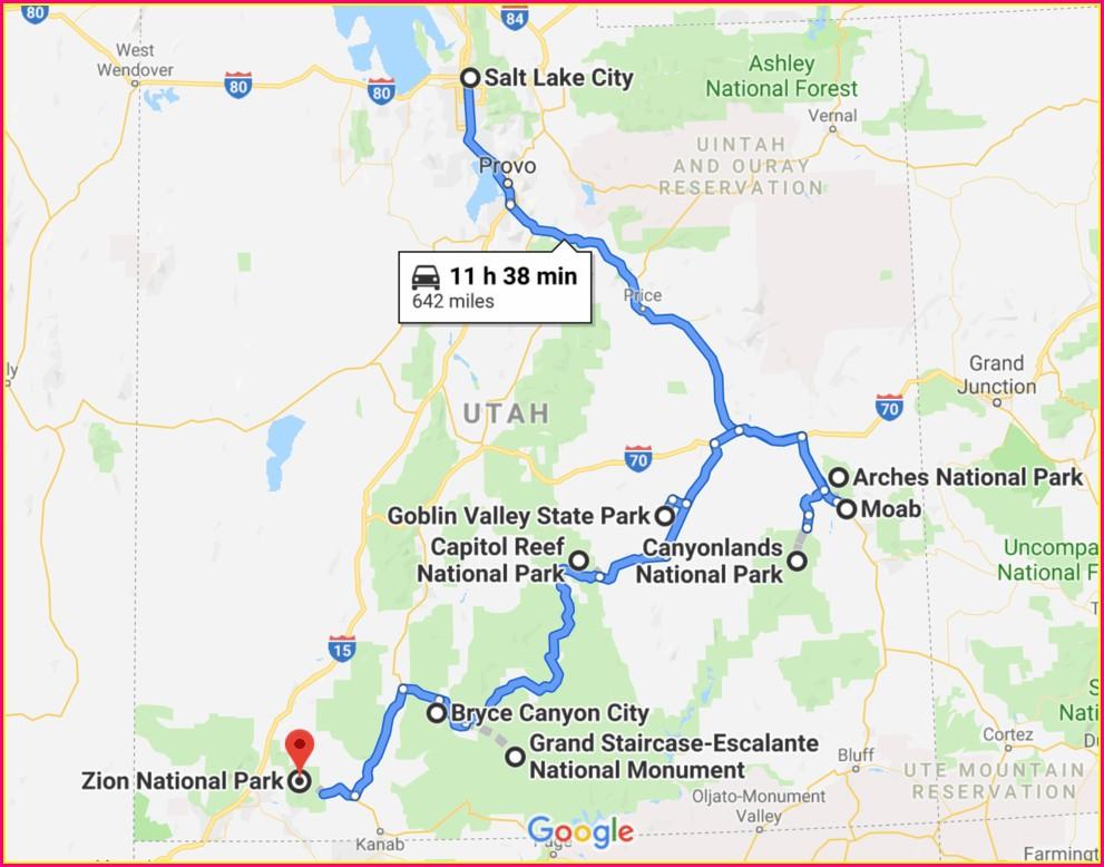 Road Trip Utah State Parks Map