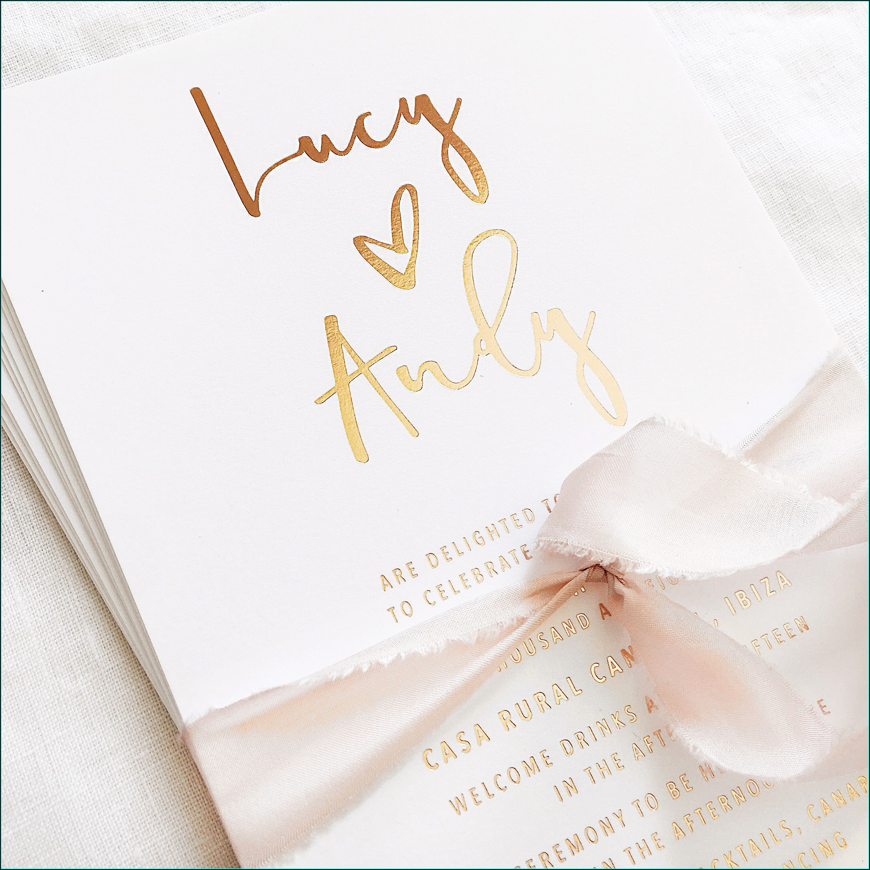 Rose Gold And White Wedding Invitations