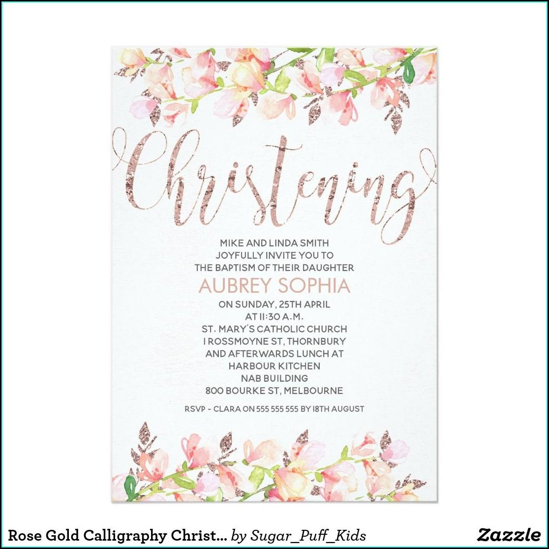 Rose Gold Christening Invitations