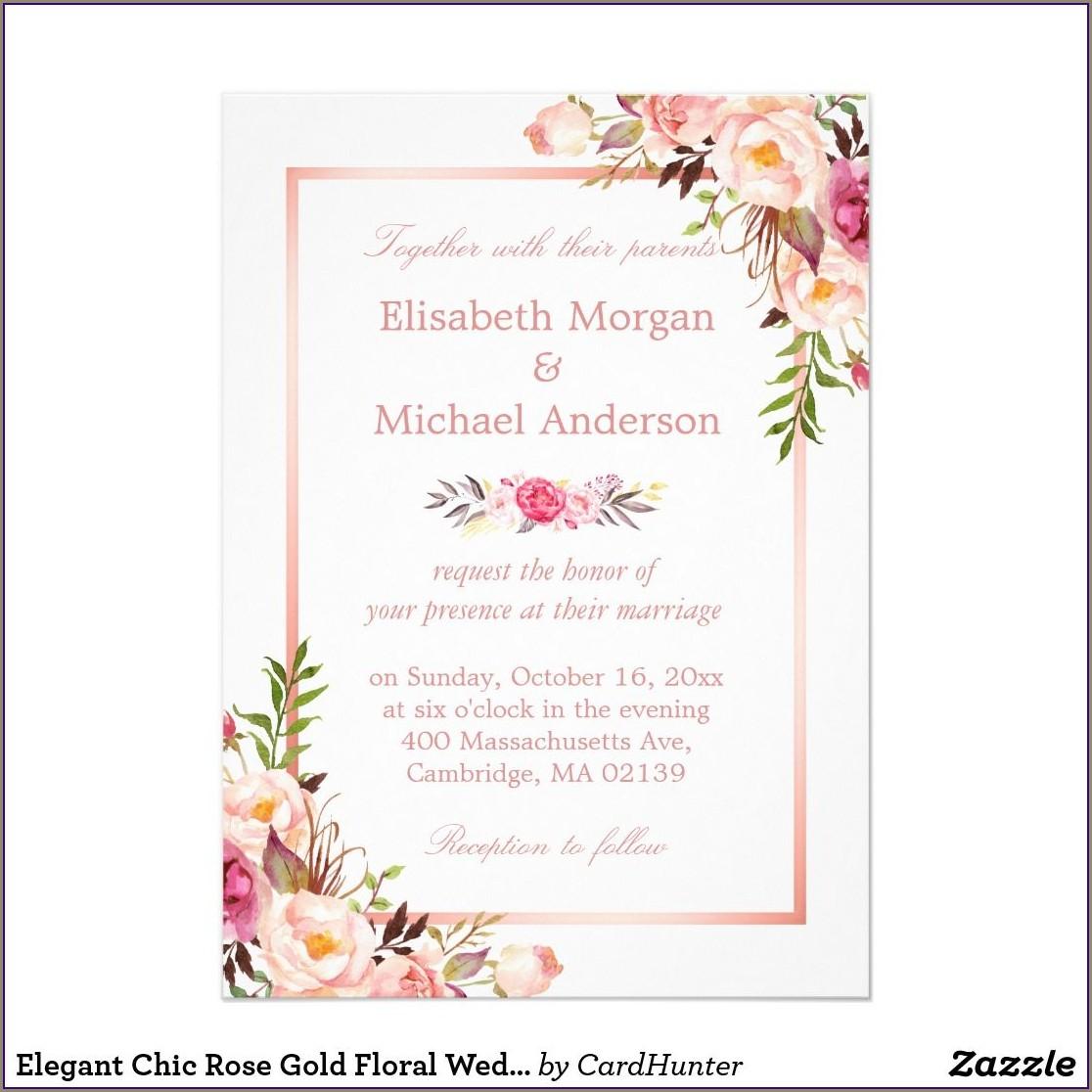Rose Gold Floral Wedding Invitations