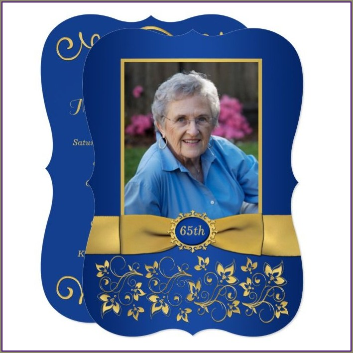 Royal Blue And Gold Birthday Invitations