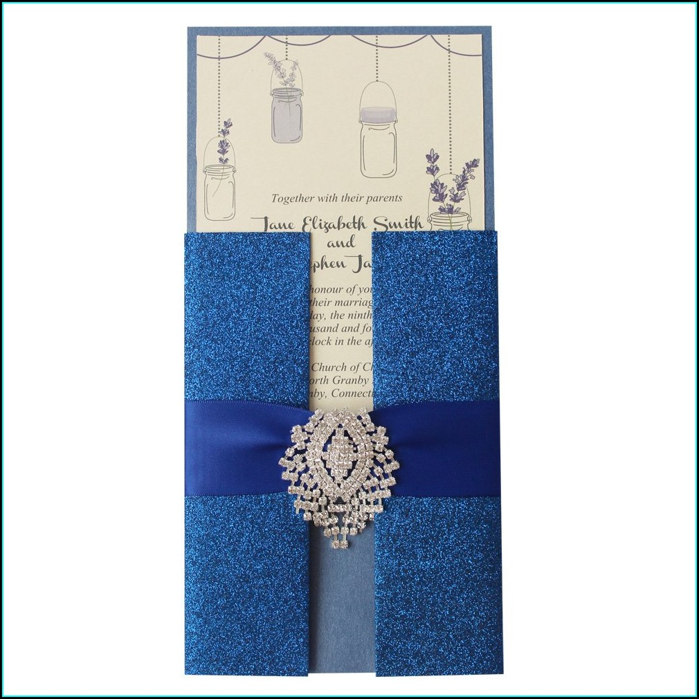 Royal Blue Invitation Card For Wedding