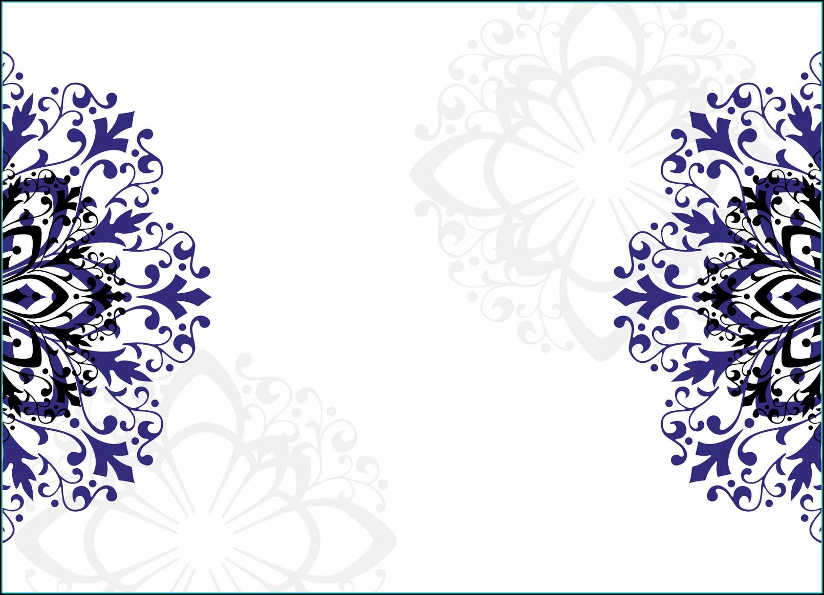 Royal Blue Printable Empty Invitation Card Design Wedding Invitation