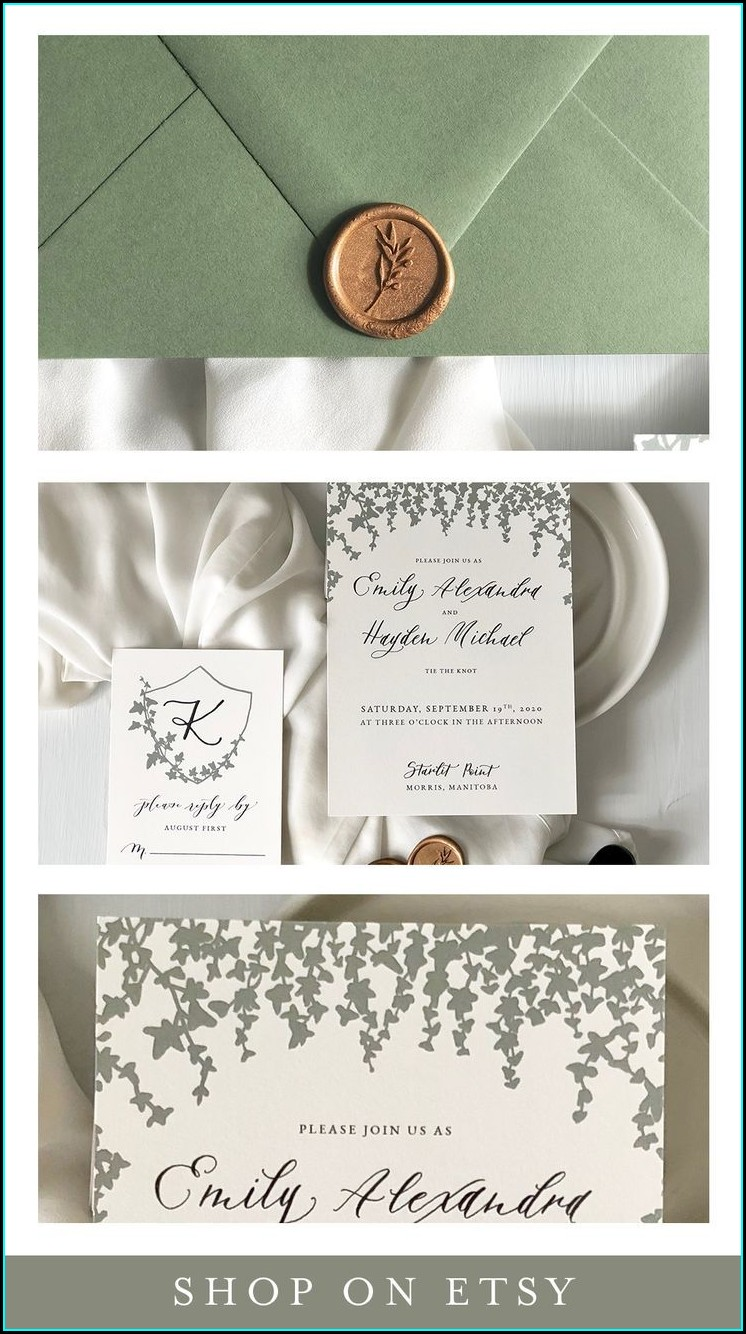 Sage Green And Gold Wedding Invitations