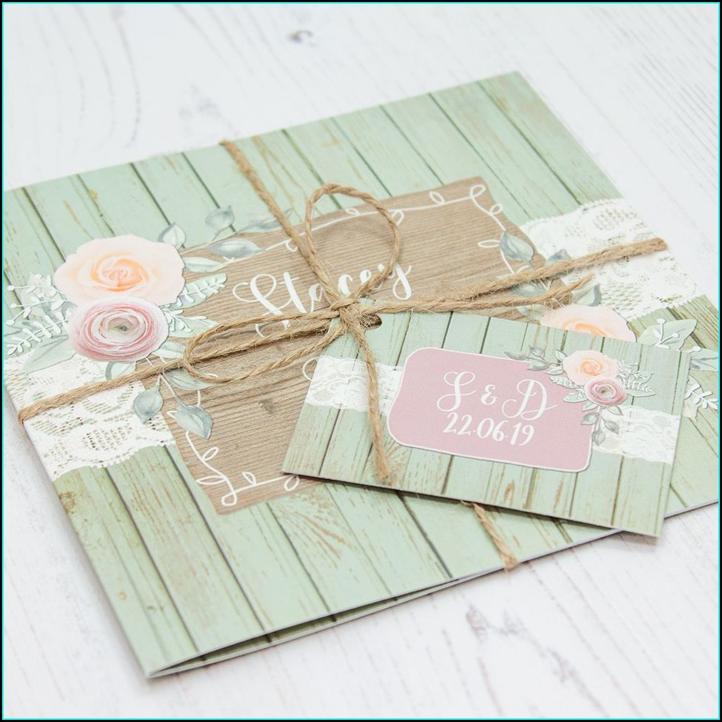 Sage Green And Pink Wedding Invitations