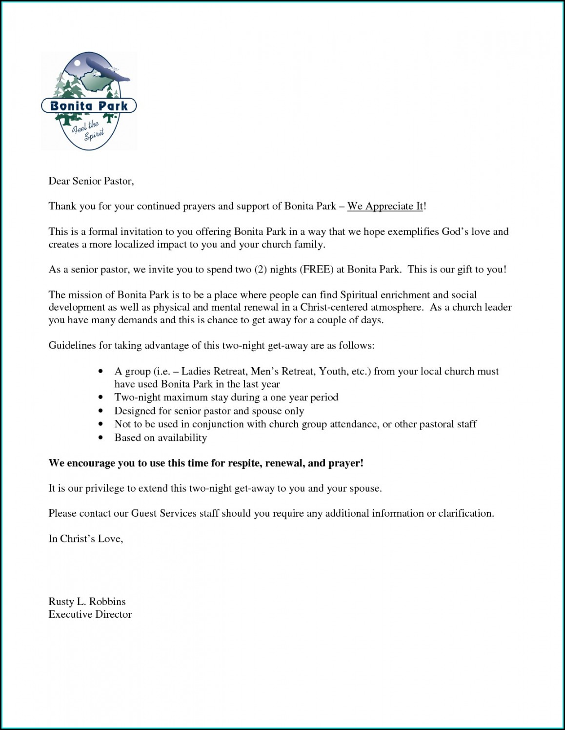 Sample Church Choir Invitation Letter