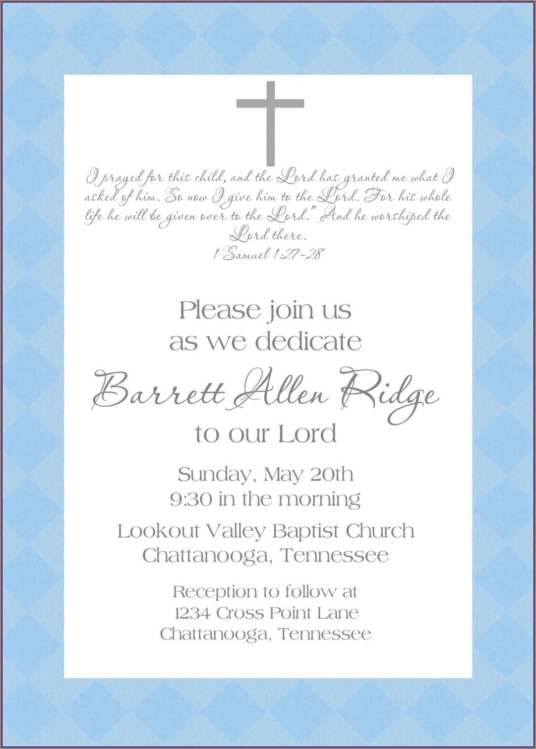 Sample Invitation For Child Dedication