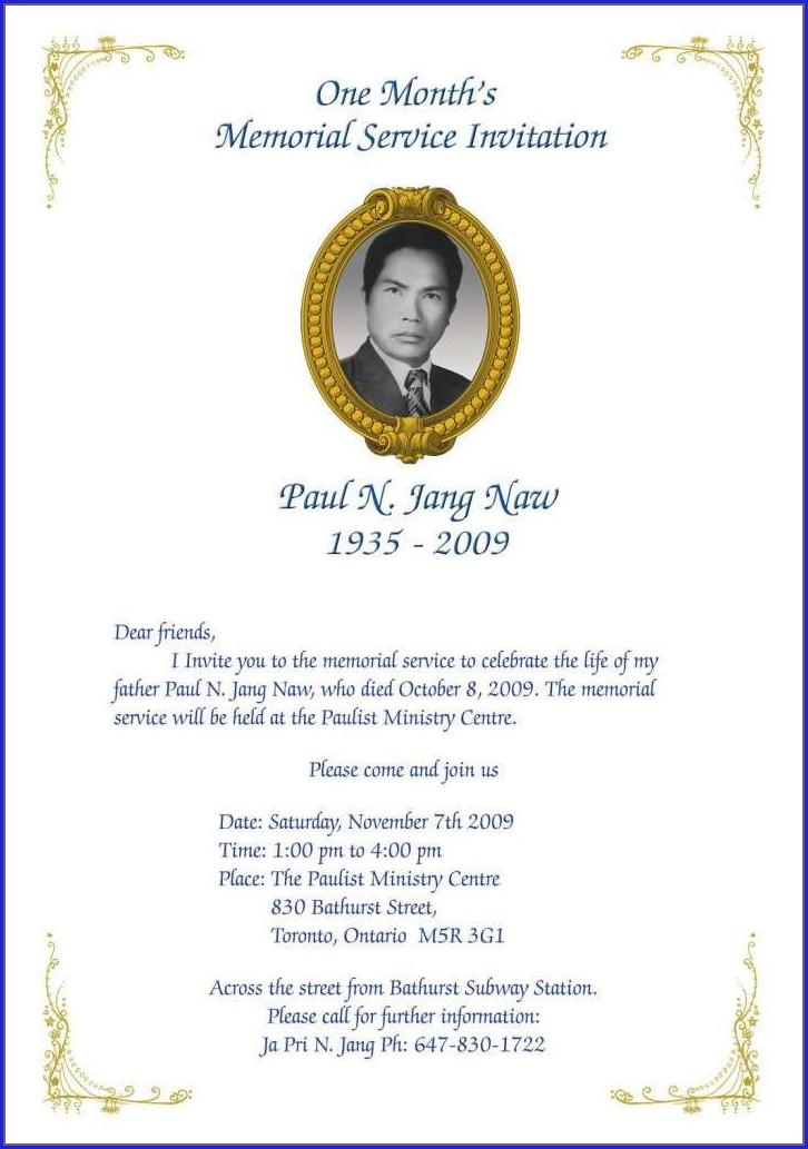 Sample Memorial Service Invitation