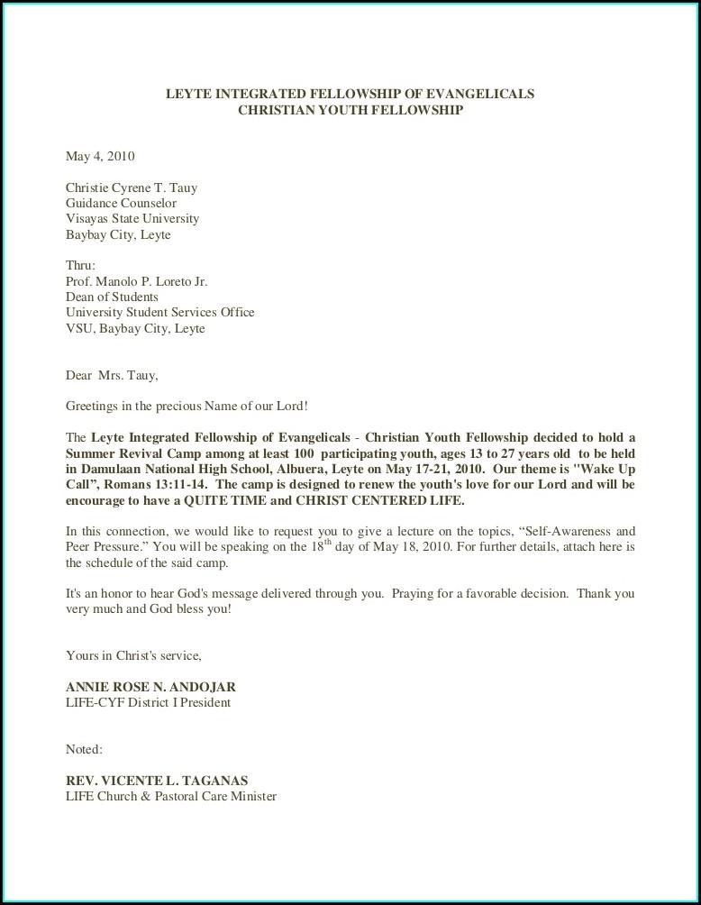 Sample Of Church Invitation Letter For A Pastor To Speak