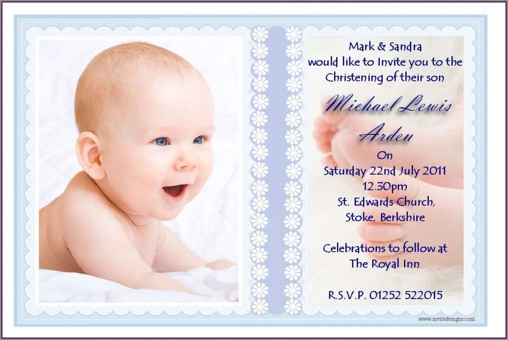 Sample Of Dedication Invitation Card