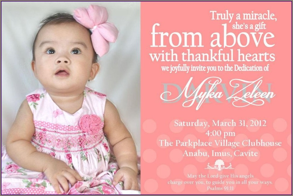 Samples Of Child Dedication Invitation Card