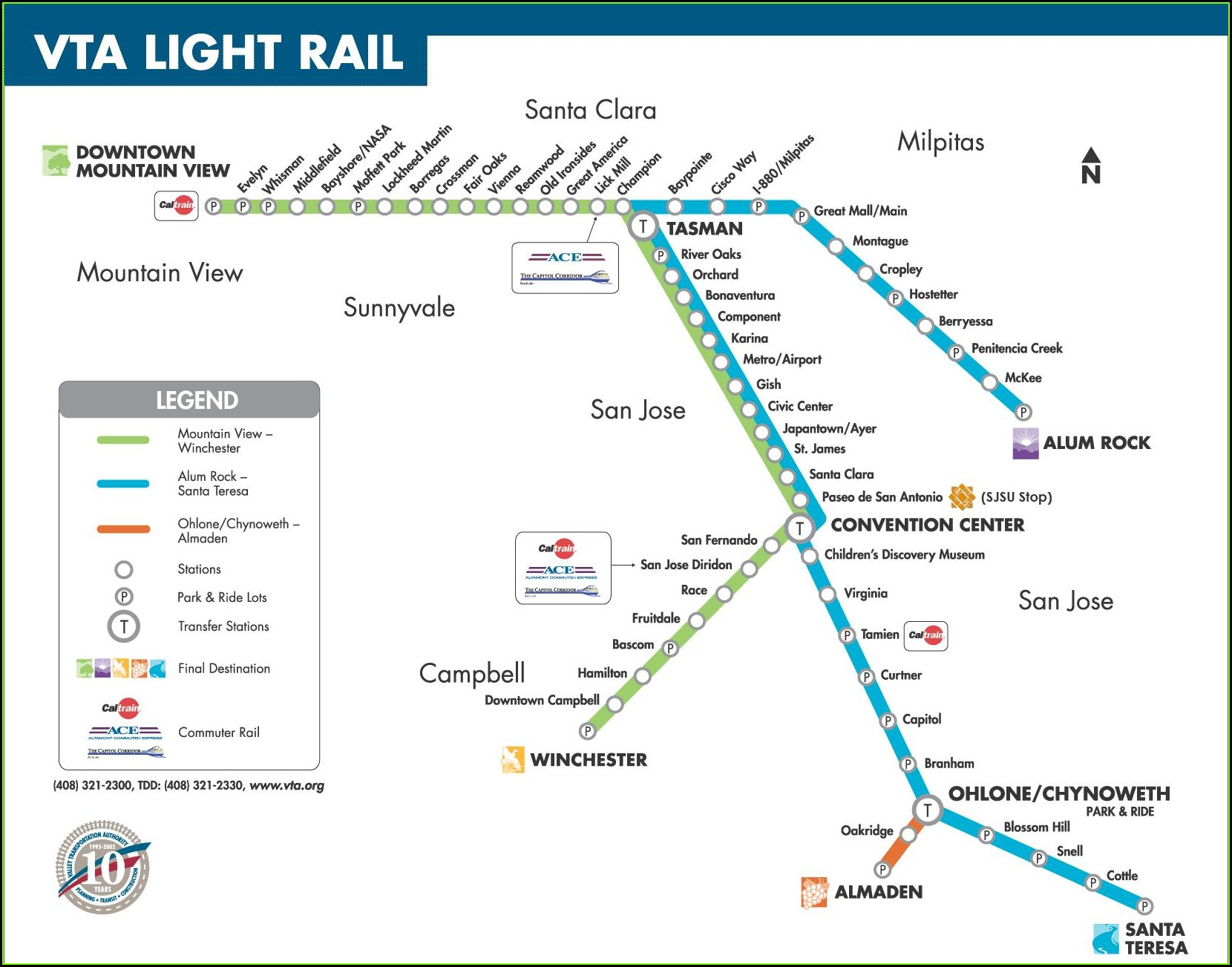 San Jose Vta Light Rail Map