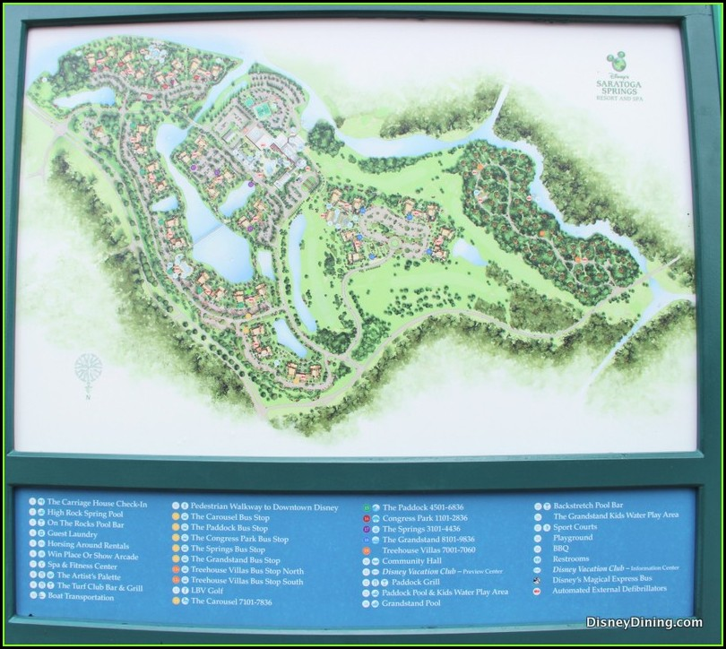 Saratoga Springs Disney Map Of Resort
