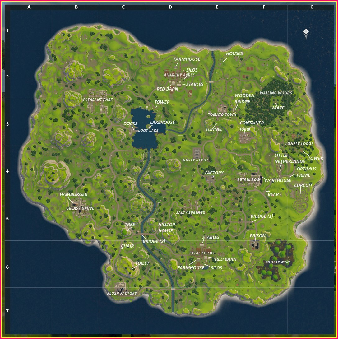 Season 2 Fortnite Map Labeled