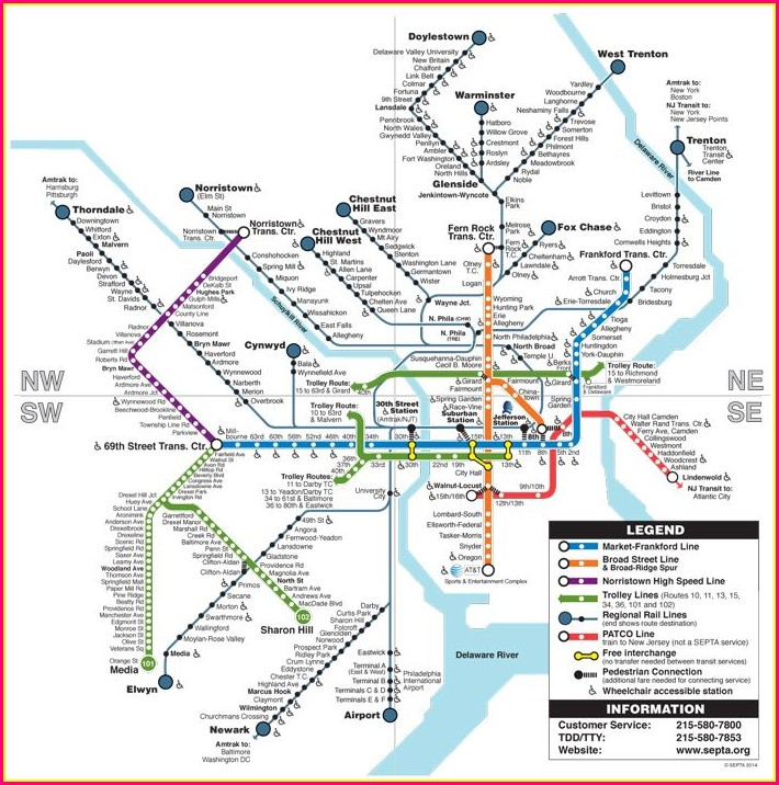 Septa Regional Rail Septa Train Map