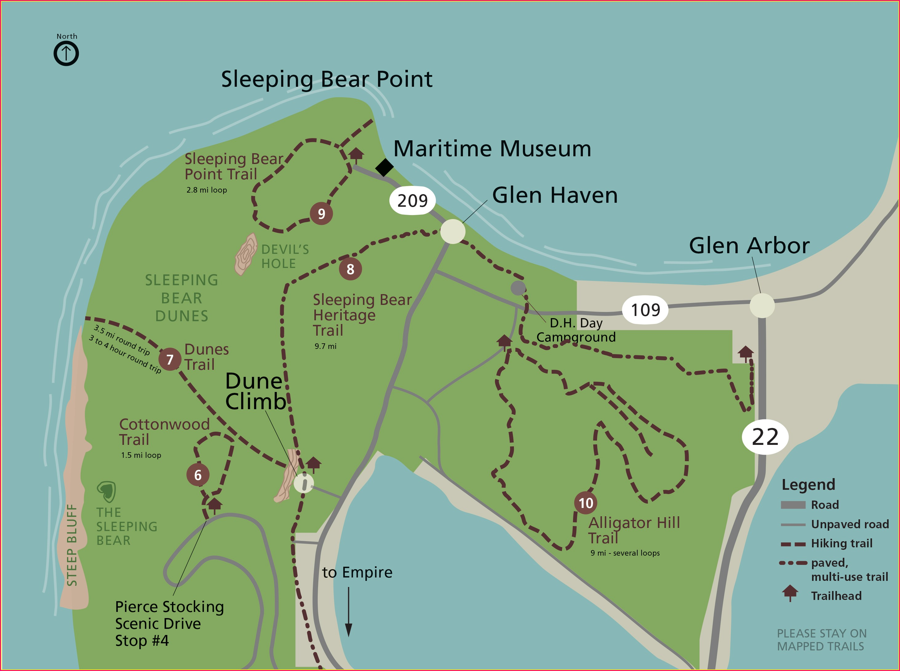 Sleeping Bear Sand Dunes Map