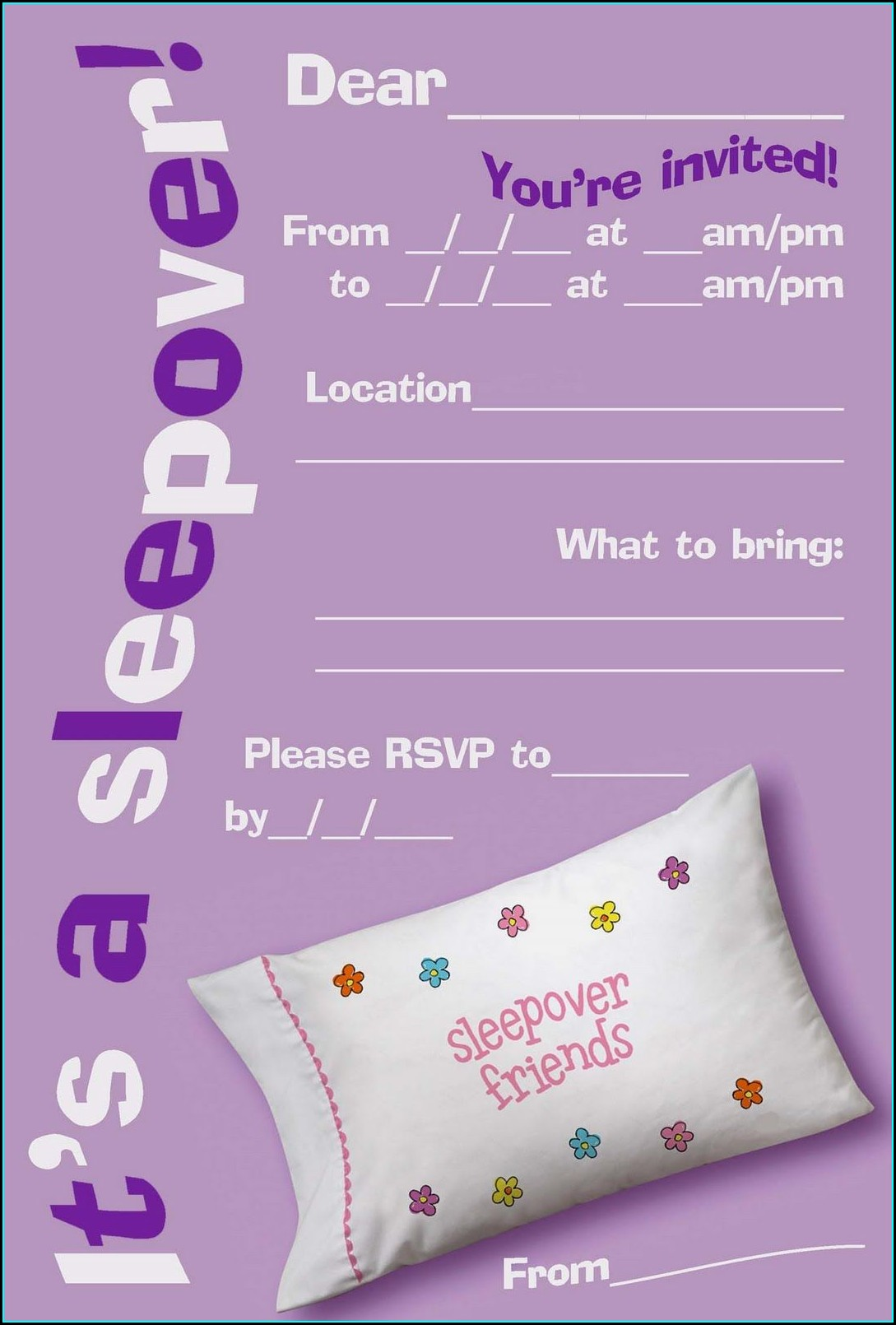 Sleepover Invitations Free Printable Girls