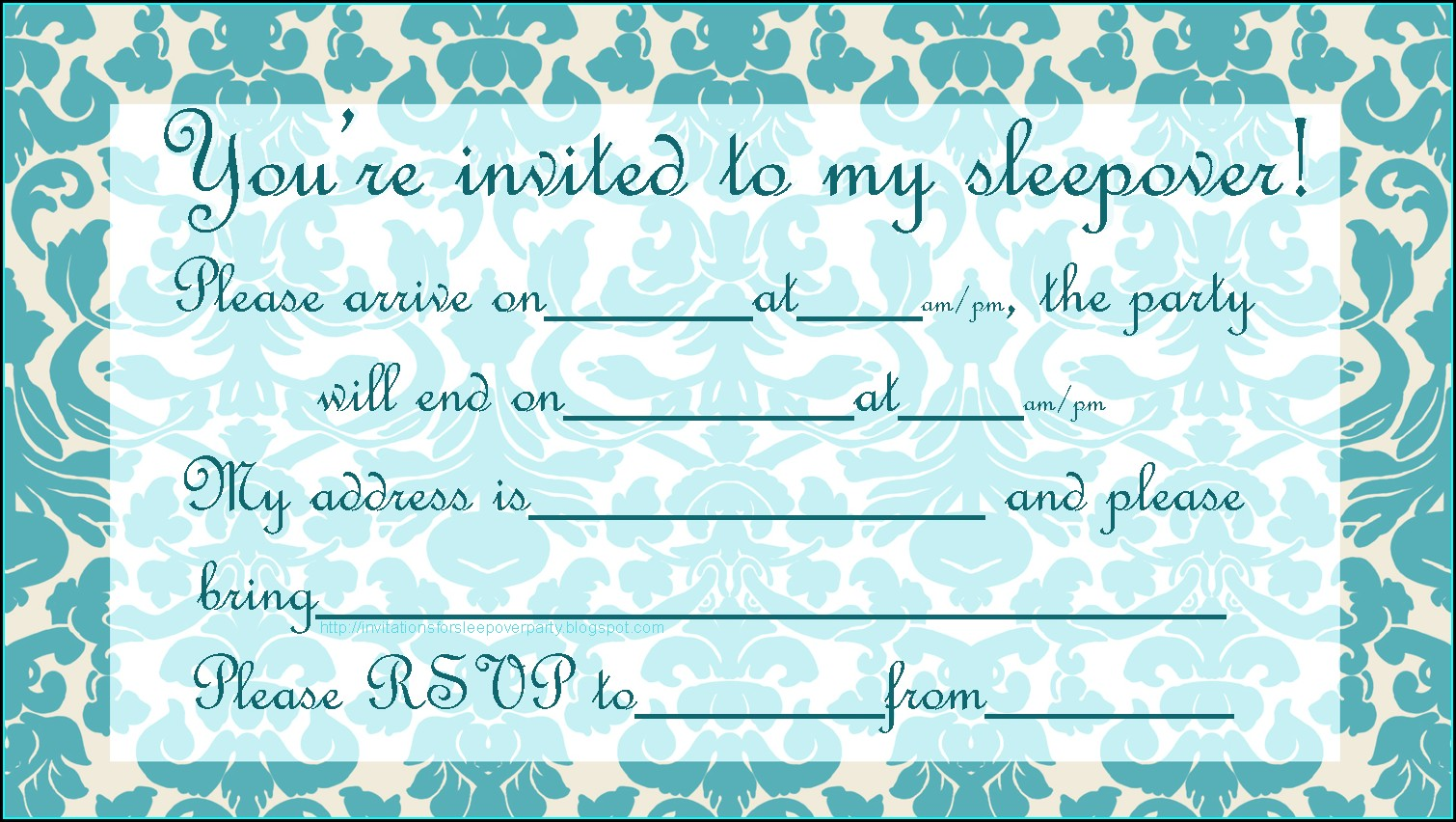 Sleepover Invitations To Print