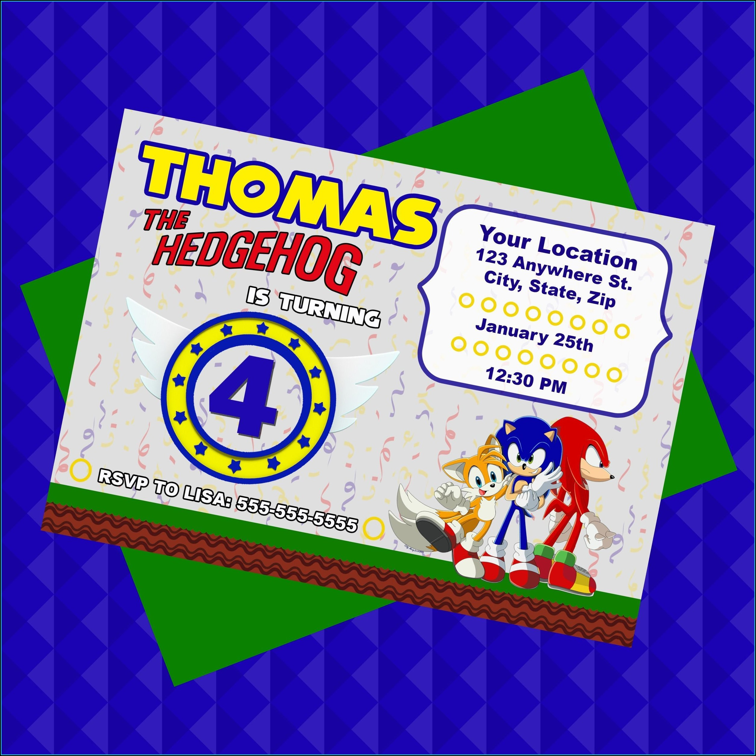 Sonic The Hedgehog Personalized Invitations