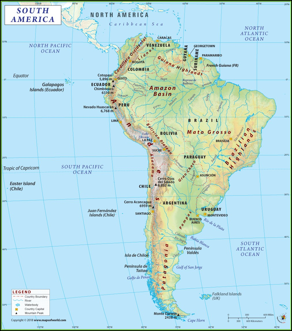 South America Physical Map Atacama Desert