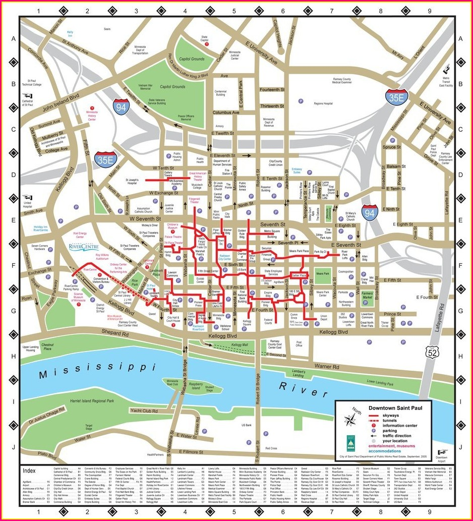 St Paul Skyway Map