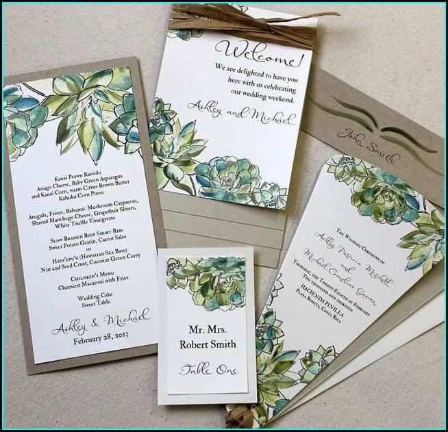 Succulent Wedding Invitation Template Free