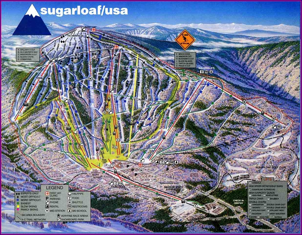 Sugarloaf Mountain Maine Trail Map