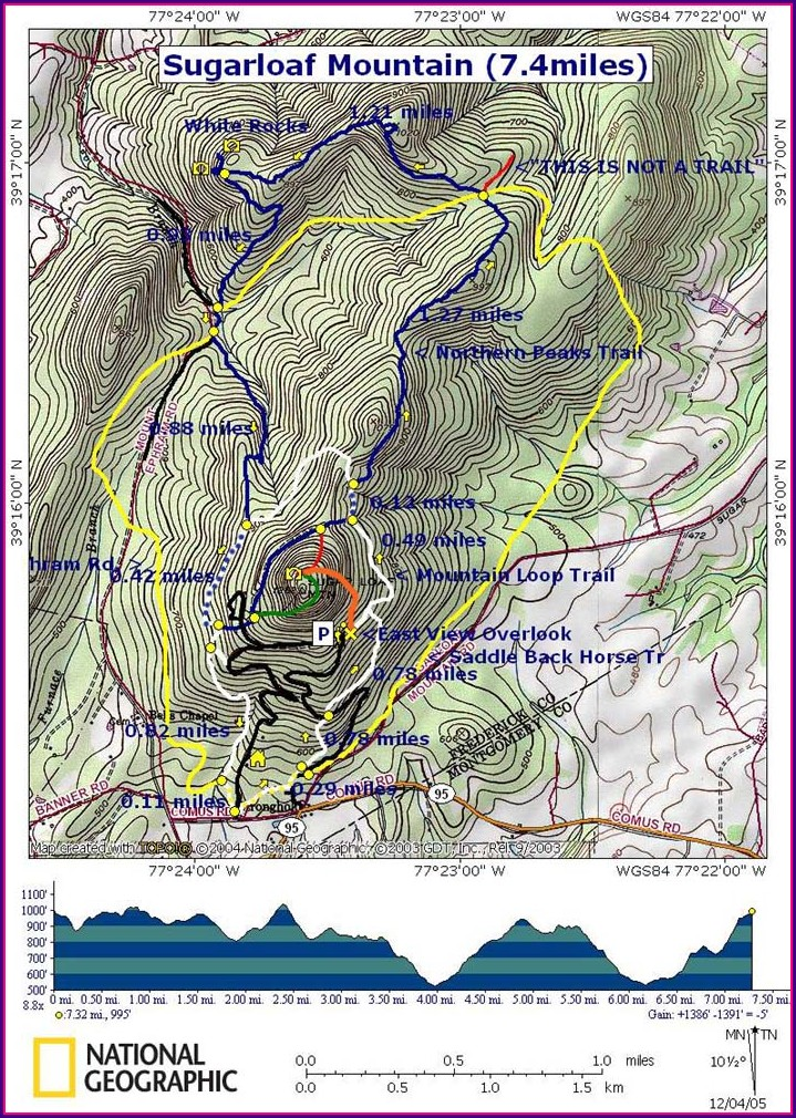 Sugarloaf Mountain Maryland Trail Map