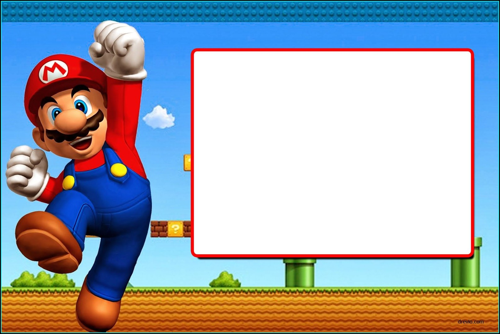 Super Mario Bros Free Online Invitations