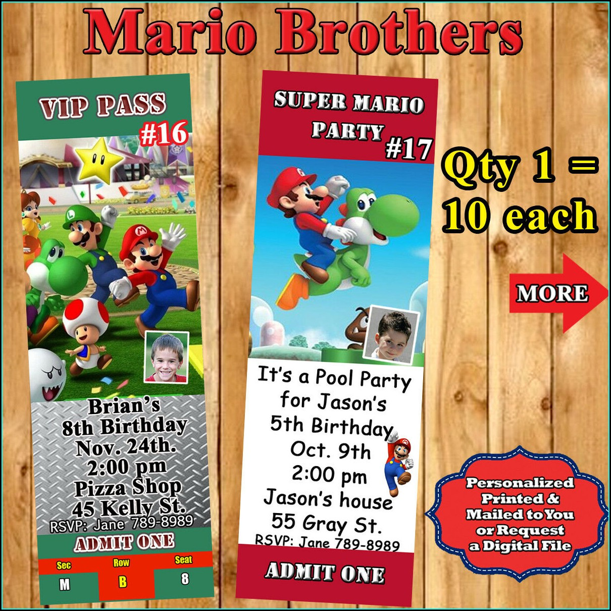 Super Mario Personalized Invitations