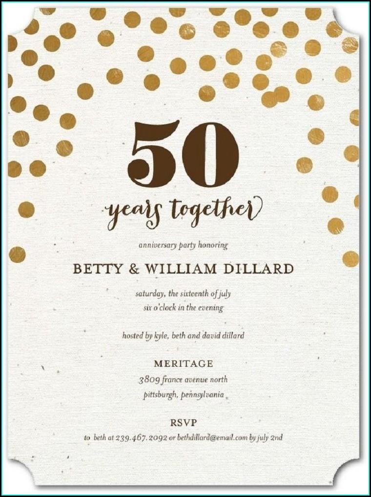 Surprise 50th Anniversary Invitation Wording