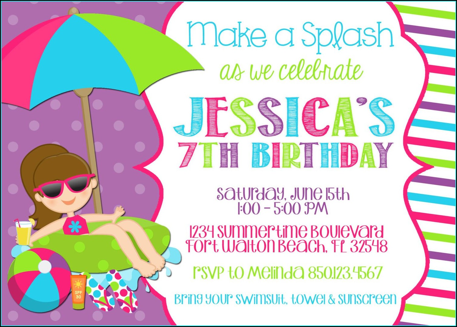Swimming Birthday Invitations Free Printable