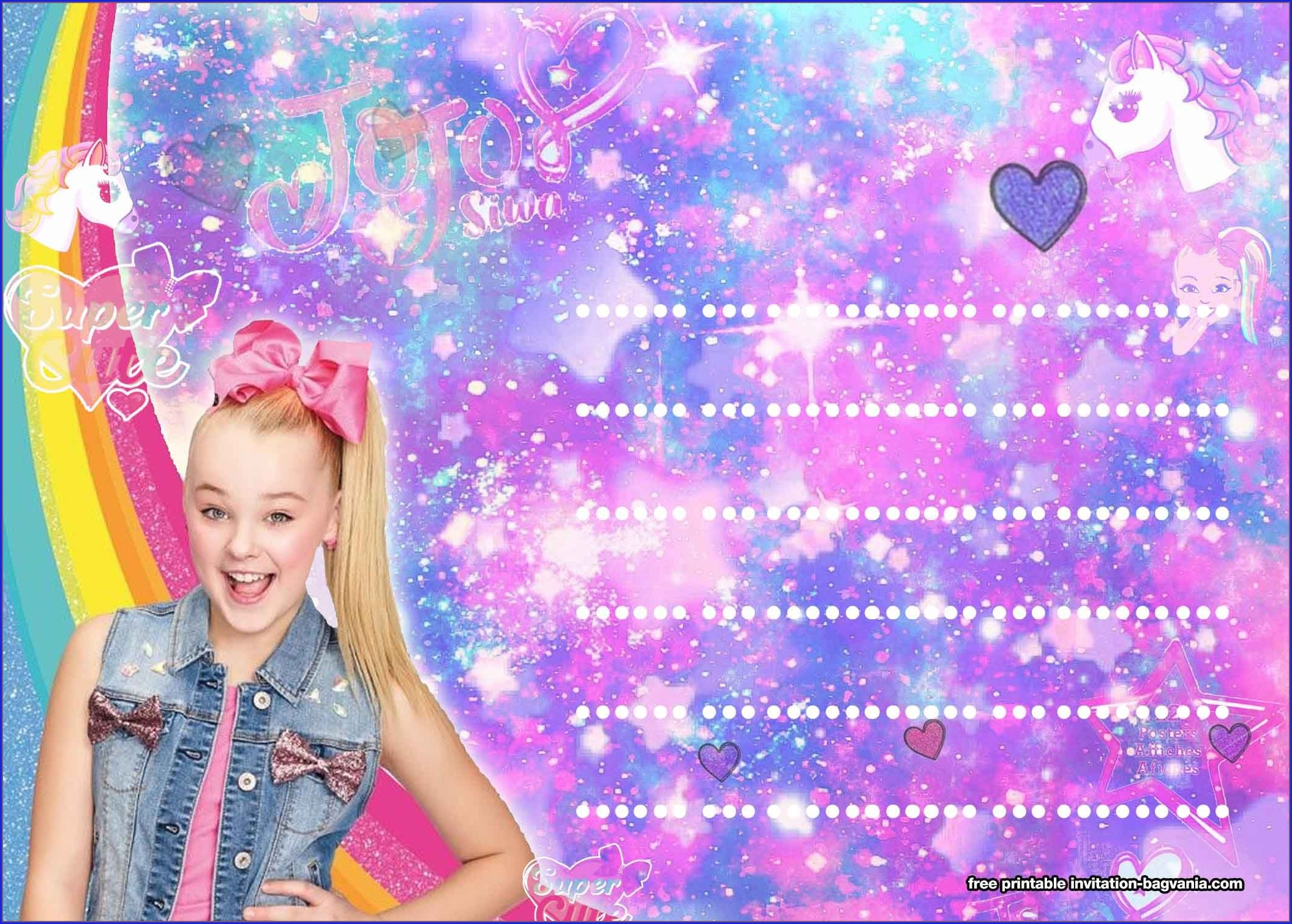 Template Jojo Siwa Blank Invitations