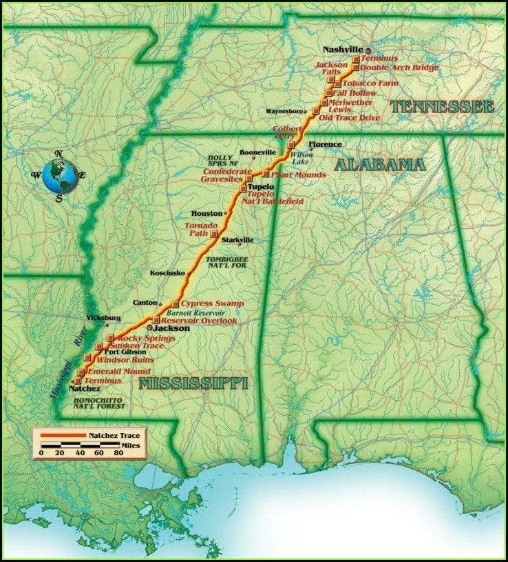 Tennessee Road Trip Natchez Trace Map