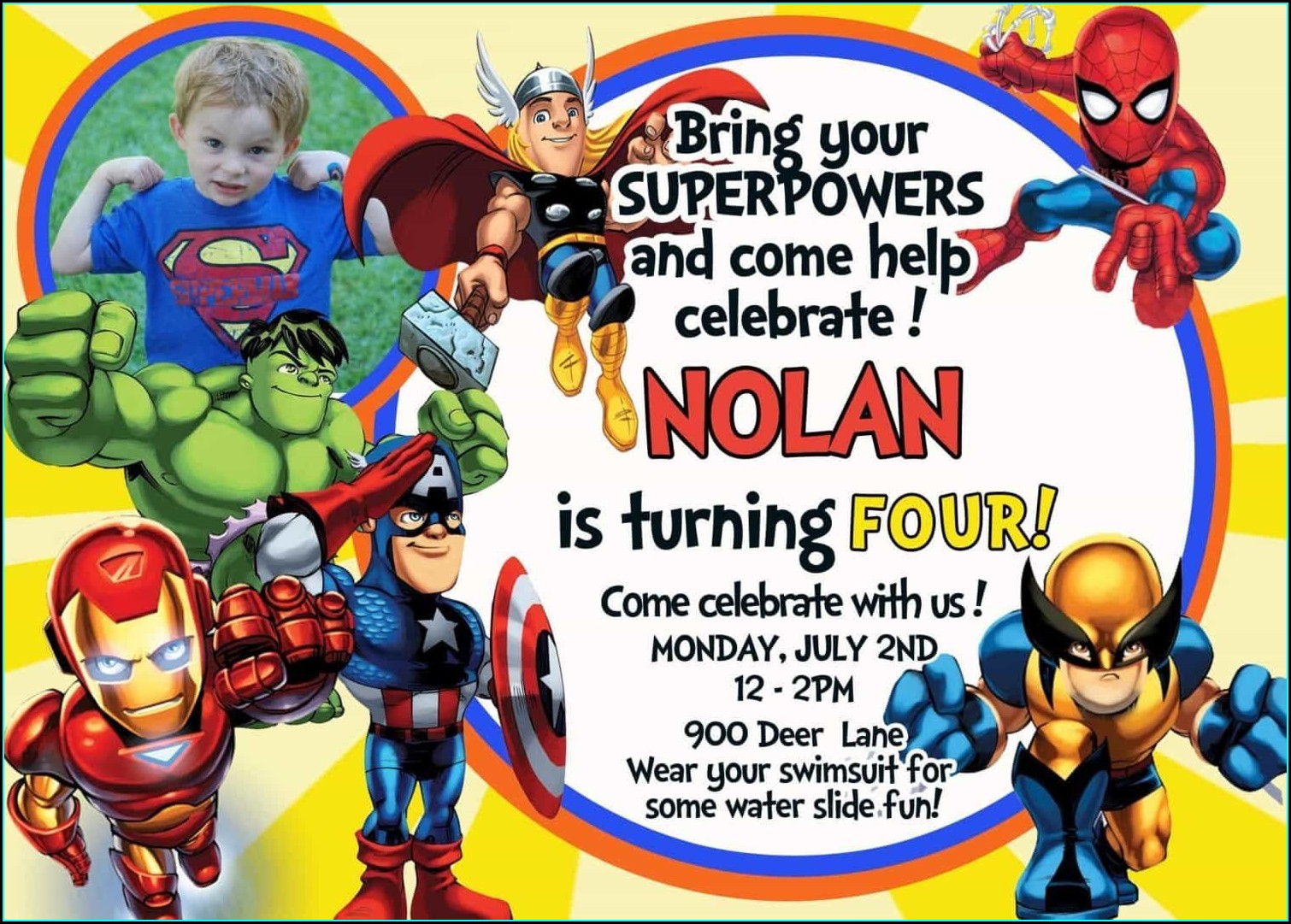 The Avengers Birthday Invitations Free