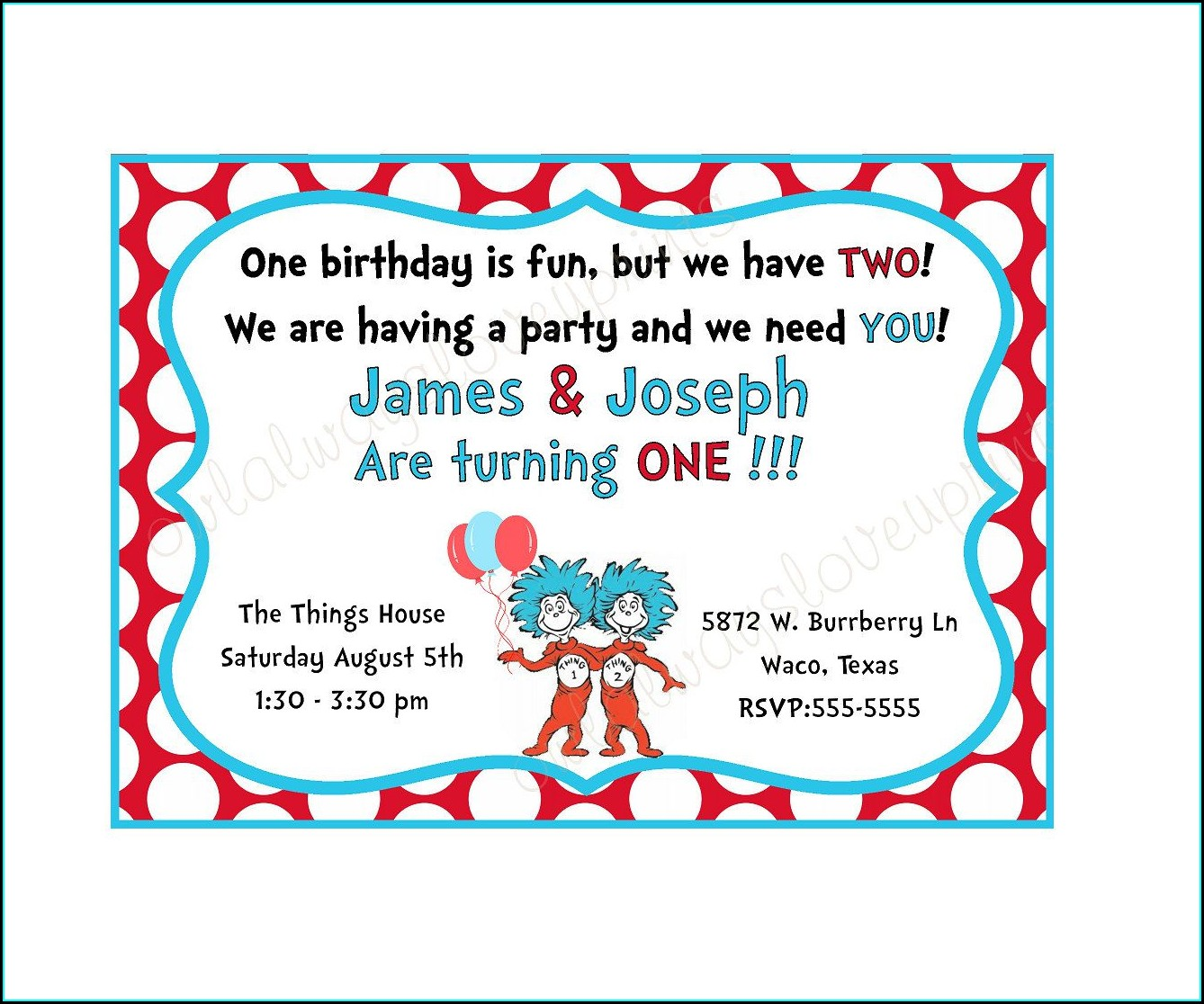 Thing 1 And Thing 2 Printable Invitations
