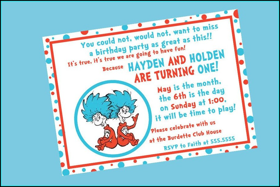 Thing One And Thing Two Birthday Invitations