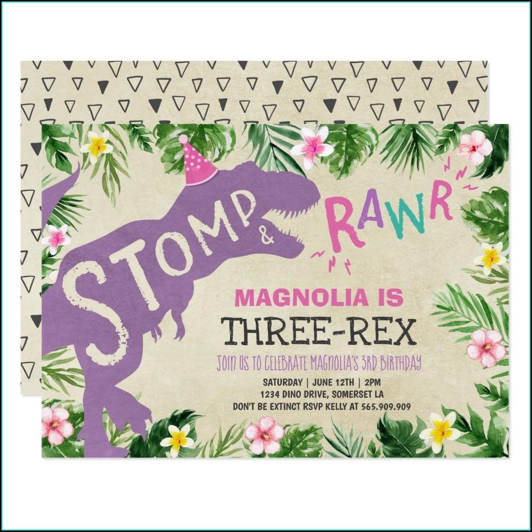 Three Rex Birthday Invitations