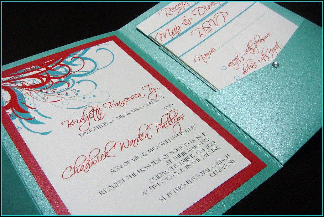 Tiffany Blue And Red Wedding Invitations