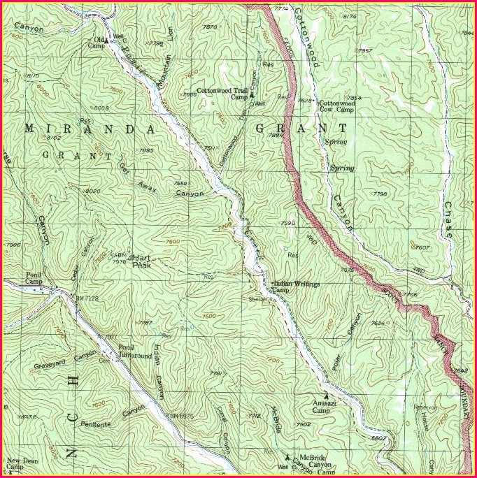 Topographic Philmont Scout Ranch Map